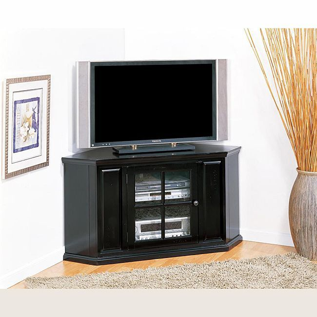 This 46-inch corner stand settles your TV back into the corner and reclaims valuable floorspace.  Holding popularly sized televisions up to 45 inches, this stand also features storage for multiple components.
