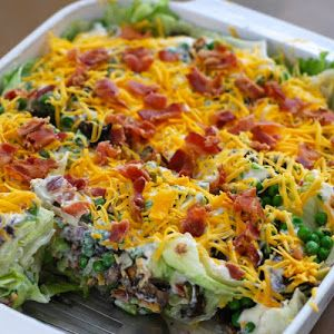 Layered Salad In A Cake Pan With Iceberg Lettuce, Purple Onion, Chopped Celery, Green Pepper, Fresh Mushrooms, Frozen Peas, Mayonnaise, Sugar, Cheddar Cheese, Lower Sodium Bacon