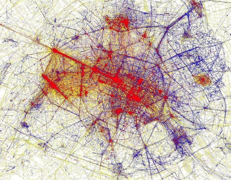 Aussi instructif que graphique : les endroits les plus photographiés à Paris (mais aussi Londres, New-York, Tokyo...). En bleu : les photographes-habitants // En rouge : les photographes-touristes // En jaune : des photographes aux origines inconnues.