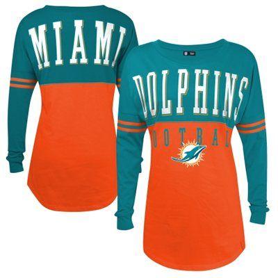 Miami Dolphins 5th & Ocean by New Era Women's Baby Jersey Spirit Top Long Sleeve T-Shirt - Orange