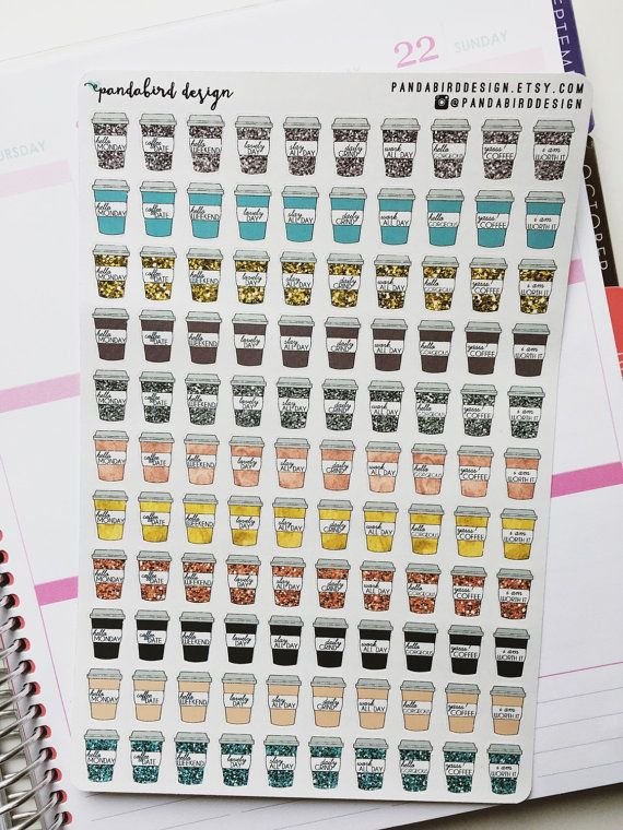 110 Coffee Cup Planner Stickers  Sassy Coffee by PandabirdDesign