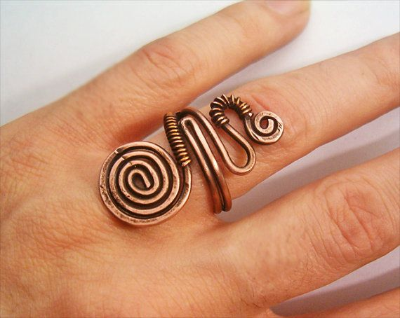 Wire Wrapped Adjustable Copper Ring  wire wrapped by GearsFactory, €13.00