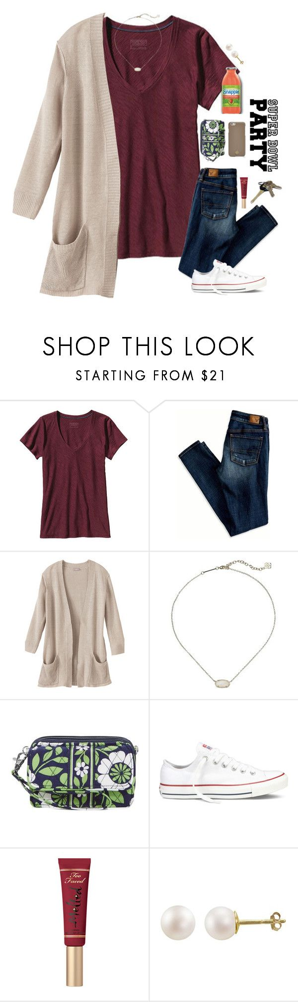 """my exact ootd for a Super Bowl party!!❤️"" by sdyerrtx ❤ liked on Polyvore featuring Patagonia, American Eagle Outfitters, Kendra Scott, Vera Bradley, Converse, PearLustre by Imperial, Tory Burch, Avon, women's clothing and women"