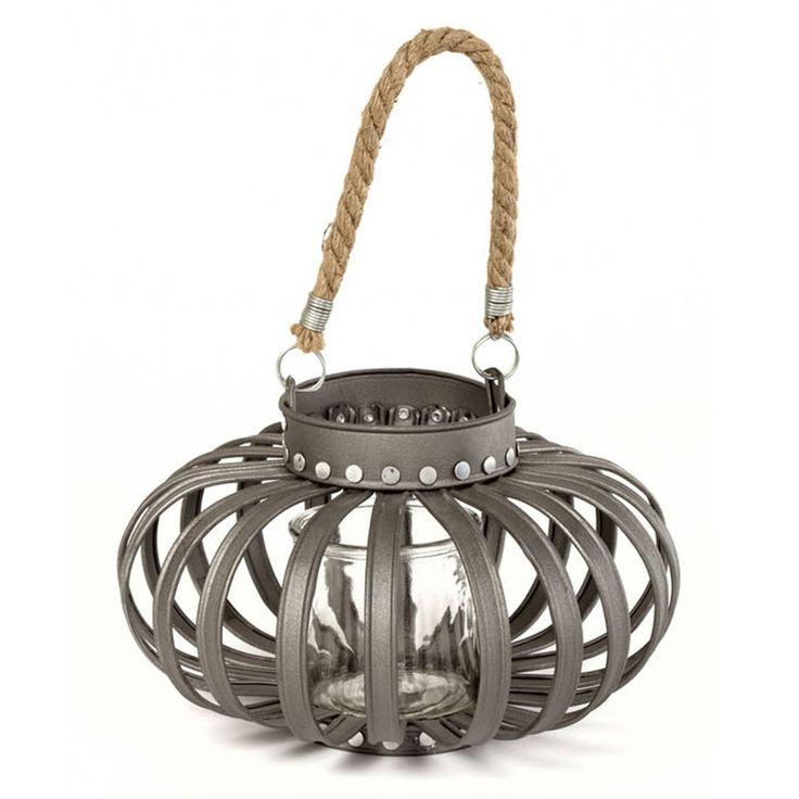 Satchville Dark Grey Lantern With Rope Handle   ACHICA