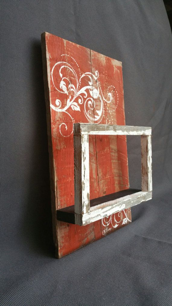 Reclaimed Wood Pallet Art, Orange Hand painted Wall art, shelf with peeling paint floating frame, distressed barnwood, Shabby Chic, upcycled