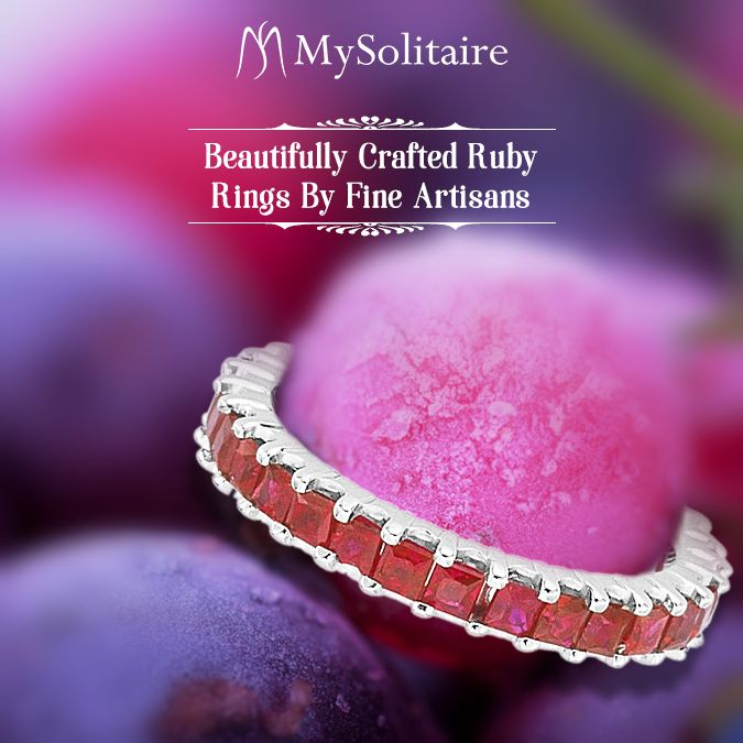 Express your love with this Ruby Ring. This vibrant Ruby Eternity Ring is bedecked with a princess-cut Rubies prong set in 14K White Gold. #ruby #everydaycarry #whitegold #engagementring #special #dontmissout