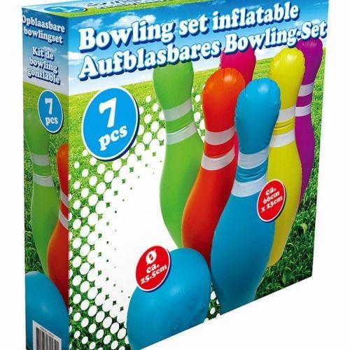 Opblaas bowlingset (7 delig)    .Bowlen: leuk om te spelen.  Set bestaat uit:    .6 Opblaasbare kegels (ca. 66x23cm),    .Bowlingbal (doorsnede: ca. 25,5cm)