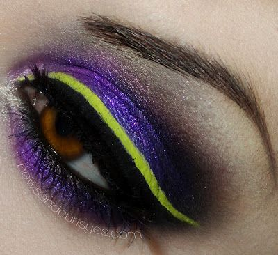 Neon yellow-green liner over shimmer purple eyeshadow. Lime Crime color eyeliner in Citreuse, make-up, eyes