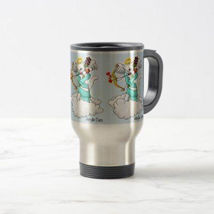 Valentine's Day Snow White Cupid Cat Travel Mug - Saint Valentine's Day gift idea couple love girlfriend boyfriend design