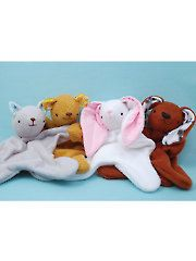 Lovey Dovey Sewing Pattern: Kitty, Bear, Bunny, Puppy - just the right size for baby to handle & so cute & cuddly & soft.