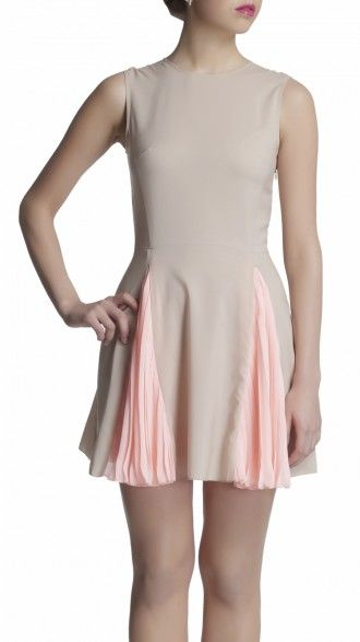 sbuys - Fit and Flare Dress #sbuys #dress #heatpleat #pastel #beige #spring Shop now at www.sbuys.in
