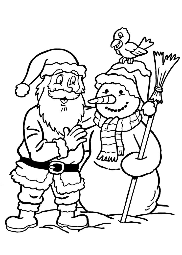 Santa Talking With Snowman Coloring Pages For Kids Printable Christmas