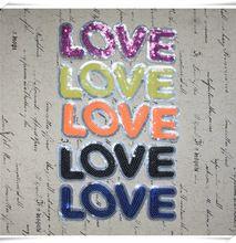 Carta de amor de lantejoulas applique do vintage bordado sew ou camisola de patch(China (Mainland))