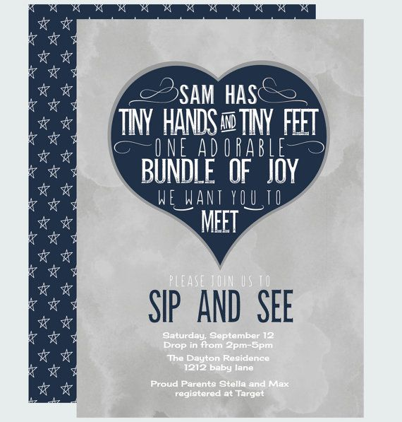 Joyful Sip and See Invitation  Baby Boys by PaperCleverParty