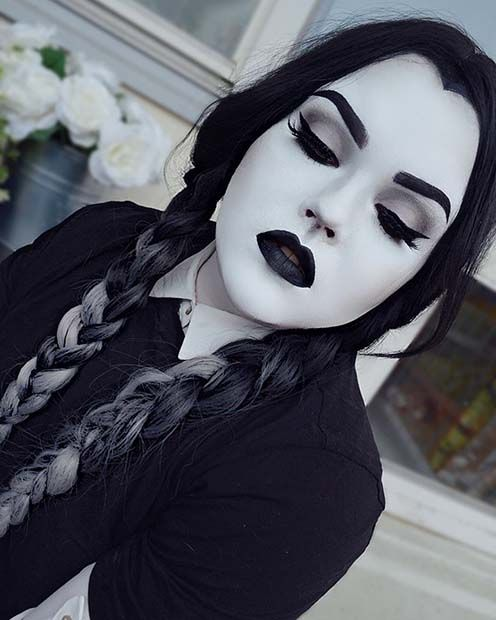 Black & White Wednesday Addams Halloween Makeup