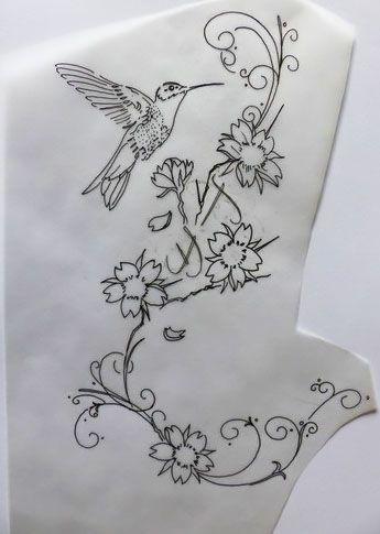 calque colibri et fleurs de cerisier essais pour un pied. Black Bedroom Furniture Sets. Home Design Ideas