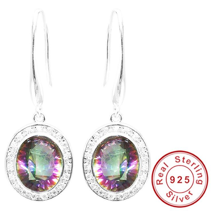 5.9ct Natural Rainbow Fire Mystic Topaz Dangle Earring Only $39.97 => Save up to 60% and Free Shipping => Order Now! #Bracelets #Mystic Topaz #Earrings #Clip Earrings #Emerald #Necklaces #Rings #Stud Earrings