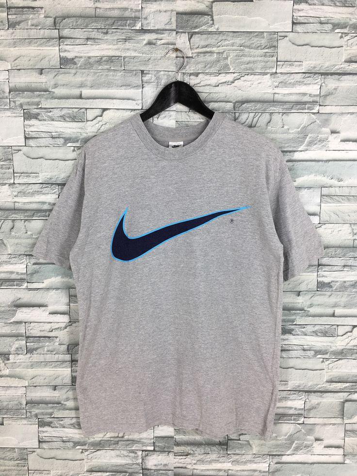 Vintage Nike Swoosh Gray T shirt Medium 1990s Nike Big