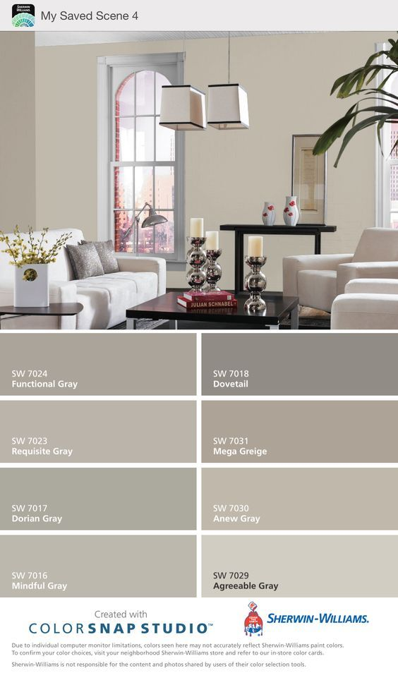 Mega Greige & Anew Gray - Sherwin Williams. ( warm grays ). My choice for gray color scheme.: