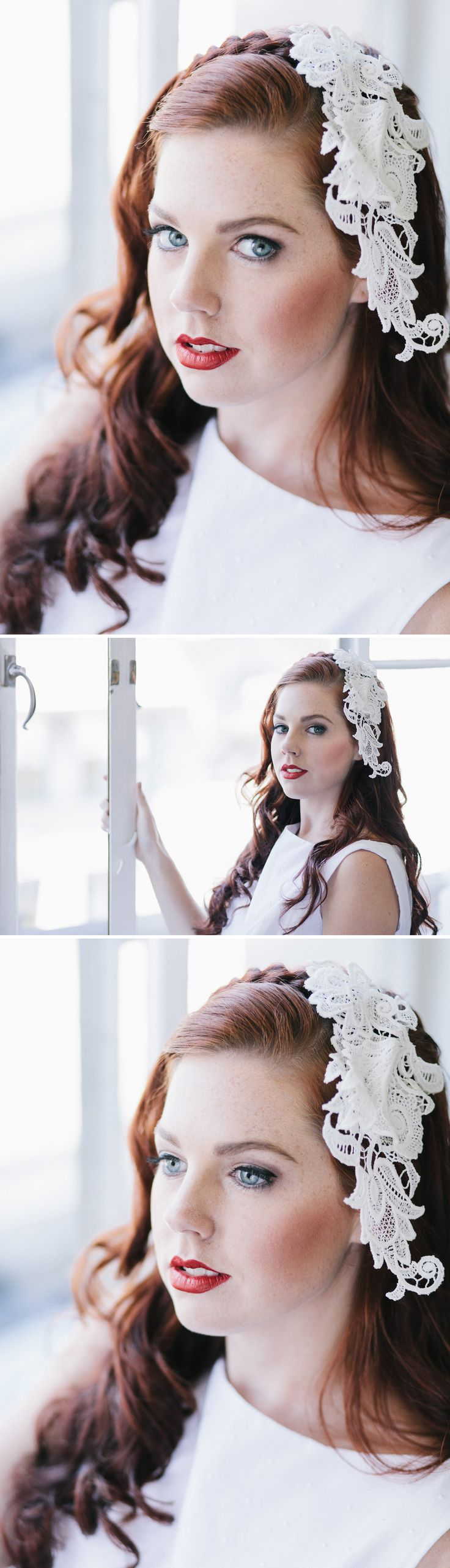 White lace pieces, braids and red lips for your vintage wedding?