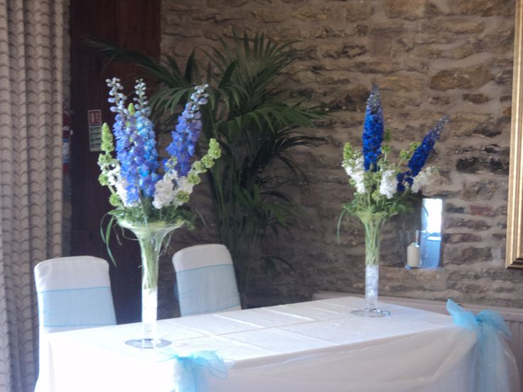 Delphiniums and stocks-locally grown from Flowers from the Farm. Venue-Rudstone Walk, East Yorks.