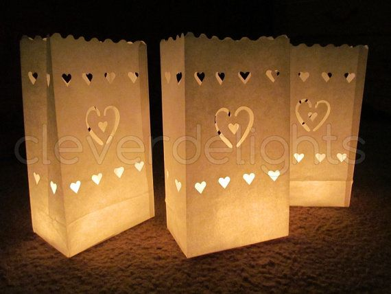 20 Luminary Bags White Center Heart Design Wedding Reception And Part