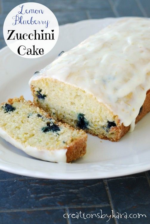 Lemon Blueberry Zucchini Cake with Lemon Cream Cheese Frosting. No one will know it has zucchini in it! -from creationsbykara.com