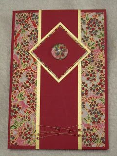 handmade greeting card: Dragonflywhisperz: Washi Paper Swap Card ... gold mats with red panels ... background of beautiful Japanese paper ...