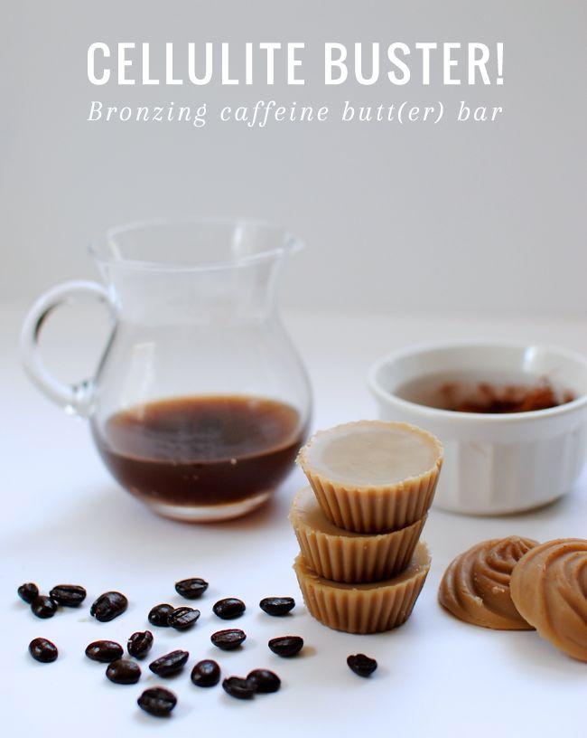 This week's #SundayBeautySecret = caffeine for cellulite! Get the DIY Bronzing Caffeine Body Butter Bar recipe: http://hellonatural.co/diy-body-butter-bar/