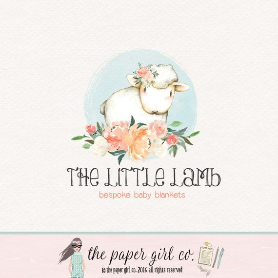 lamb logo baby shop logo children's boutique by ThePaperGirlCo