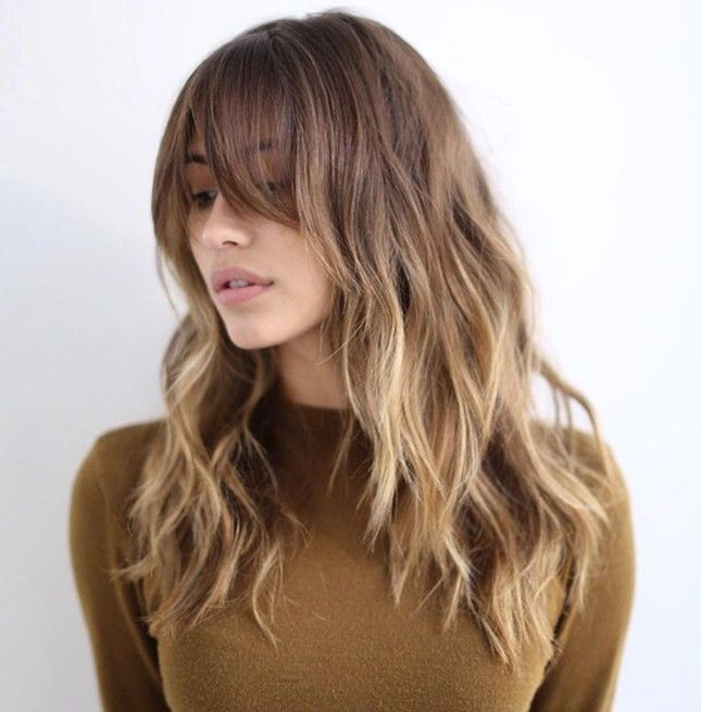 Give your hairstyle versatility with long-layered bangs.