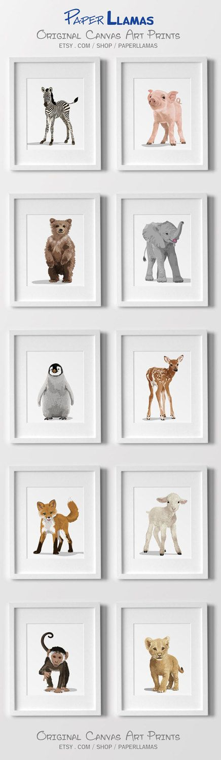 Baby Animal Nursery Art Prints modern minimalist gender nuetral baby decor forest zoo farm and jungle animals by PaperLlamas