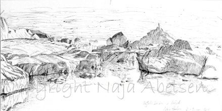 Ilulissat Icefiord, Greenland. Ink. Naja Abelsen. 2010. Drawn by night under the midnight sun...Available as A3-photoprint 400 DKK / 54 Euro.  STUDIES OF REALITY - www.123hjemmeside.dk/NajaAbelsen (sold)