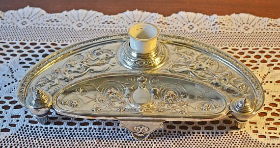 Antique Elkington & Co Standish Silver Plate Inkwell
