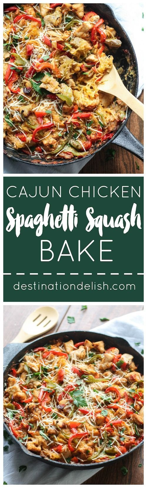 Cajun Chicken Spaghetti Squash Bake | Destination Delish – all the flavor of Cajun chicken pasta packed into a lightened-up, spaghetti squash casserole