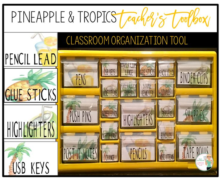 Beautiful Pineapple and Tropics themed labels for a Teacher's Toolbox. This is an easy and fun DIY project for back to school, gifts, and helps create an organized classroom.