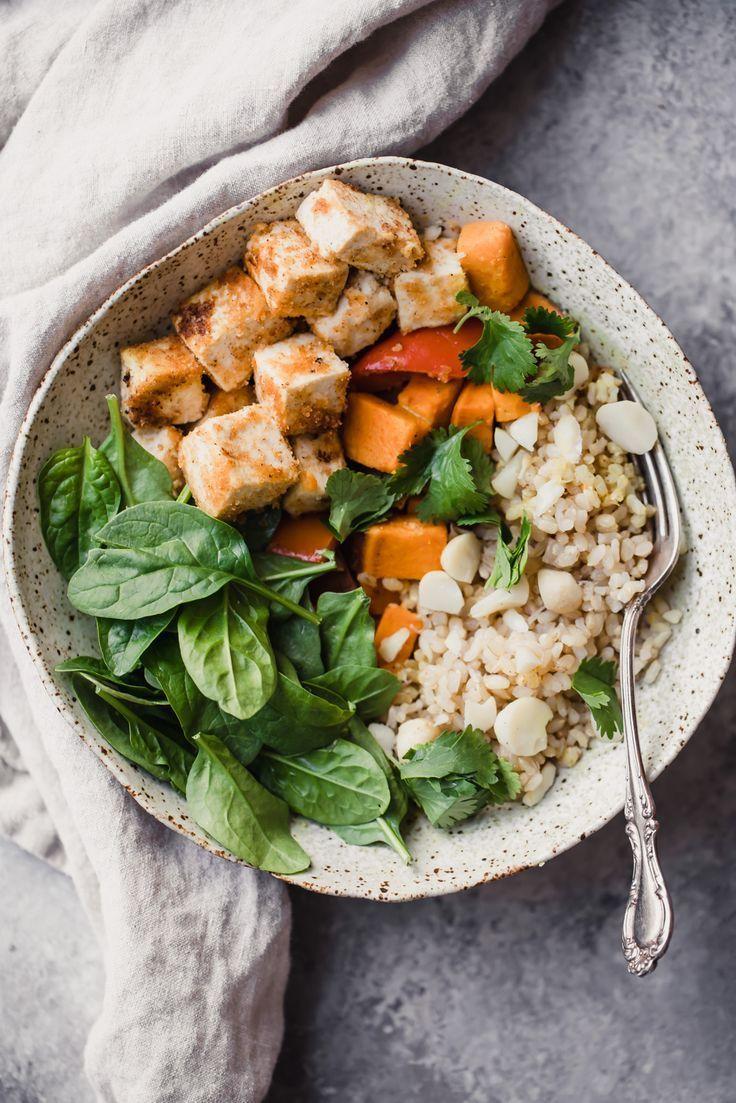 Vegan Macadamia Coconut Tofu Bowls Recipe Vegan Lunch Recipes Healthy Recipes Easy Vegan Lunch