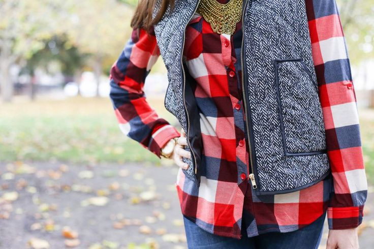 Styling a Plaid Top and Herringbone Vest from the Magnolia Post Co November Outfit, Pattern Mixing at it's Finest!