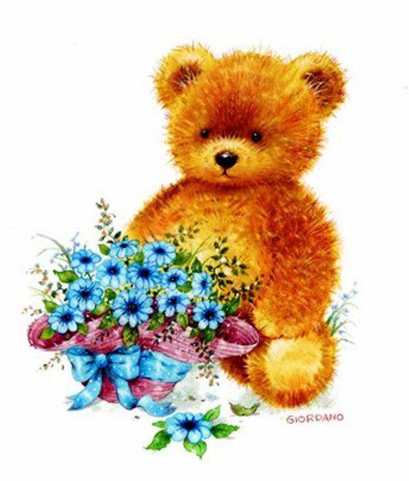 Картинки, мишка с цветами картинки для детей