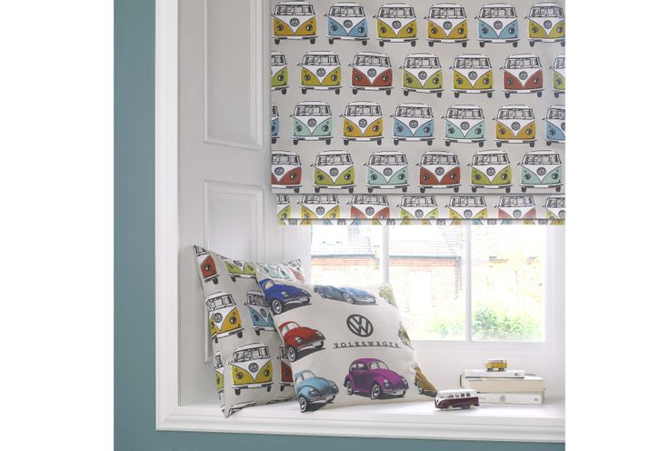 VW Fabric in a Cotton Print suitable for Cushions, Curtains & Blinds etc. Available from Curtain Call Rochdale 07886190514