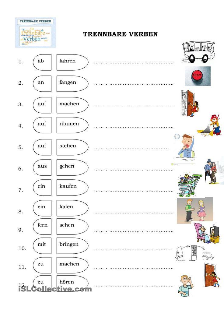 104 best Alemão Trennbare Verben images on Pinterest | German ...