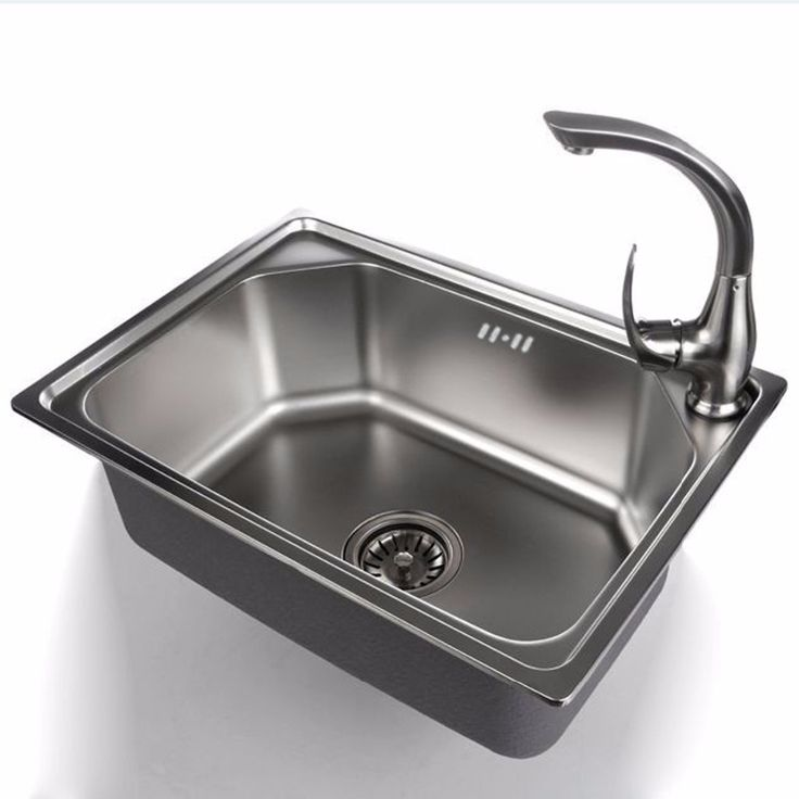 520* 380 * 190mm 304 stainless steel single bowl kitchen sink scrub  with stainless steel strainer Optional faucet #Affiliate