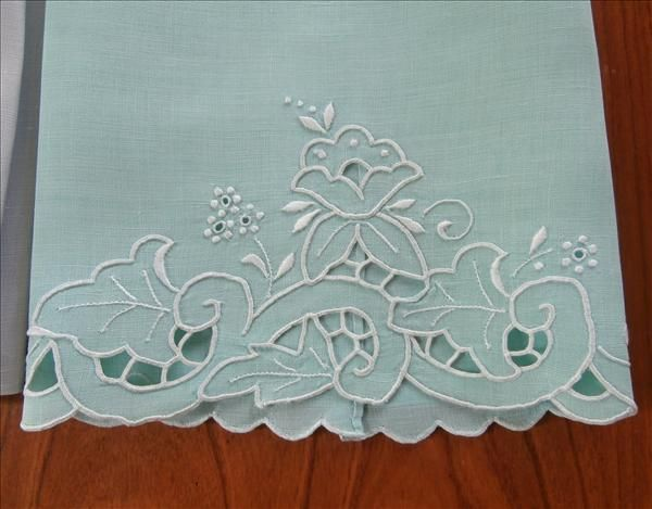 Cutwork Linen Guest Towels Aqua Gray Vintage Hand Embroidery