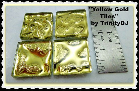 Yellow Gold Tiles  Cabochons  Watermark Tiles by TrinityDJBoutique