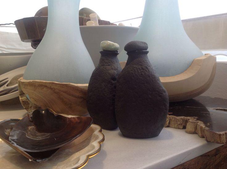 Handmade stone vinaigrettes in dark grey colour by Chora Art Home Design.