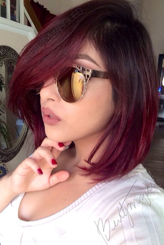 Red ombre hair bob