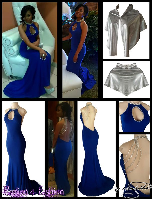 Royal blue diamante matric ball dress with a cleavage opening and a choker neckline detailed with diamante. Illusion diamante back. With silver matching shawl.
