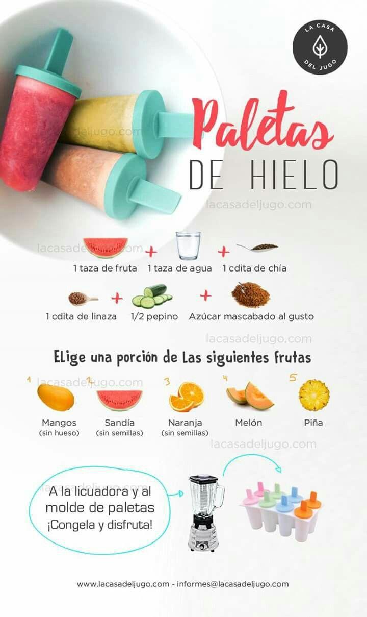 PALETAS DE HIELO HECHAS EN CASA =)  1. ELIGE UNA FRUTA (1 taza) - Mango (sin hueso) - Sandía (sin semilla) - Naranja (sin semilla) - Melón - Piña  2. AÑADE 1 taza de agua + 1 cdita de chía + 1 cdita de linaza + 1/2 pepino + azúcar mascabado al gusto  3. A LA LICUADORA Y AL MOLDE DE PALETAS. ¡CONGELA Y DISFRUTA!  Bonita día!