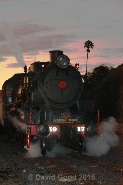Sunset shot of Lachlan Valley Railway's 5917 at Tamworth on 15th August 2015.