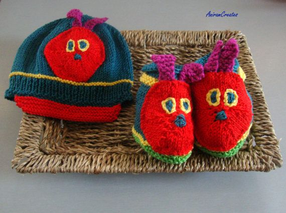 Hand knitted Very Hungry Caterpillar baby cotton by AniramCreates, £22.00